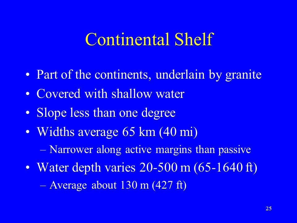 Continental Shelf Part of the continents, underlain by granite Covered with shallow water Slope less than one degree Widths average 65 km (40 mi) –Narrower along active margins than passive Water depth varies 20-500 m (65-1640 ft) –Average about 130 m (427 ft) 25