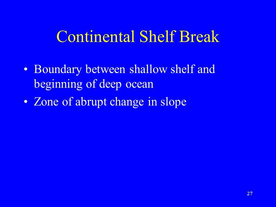 Continental Shelf Break Boundary between shallow shelf and beginning of deep ocean Zone of abrupt change in slope 27