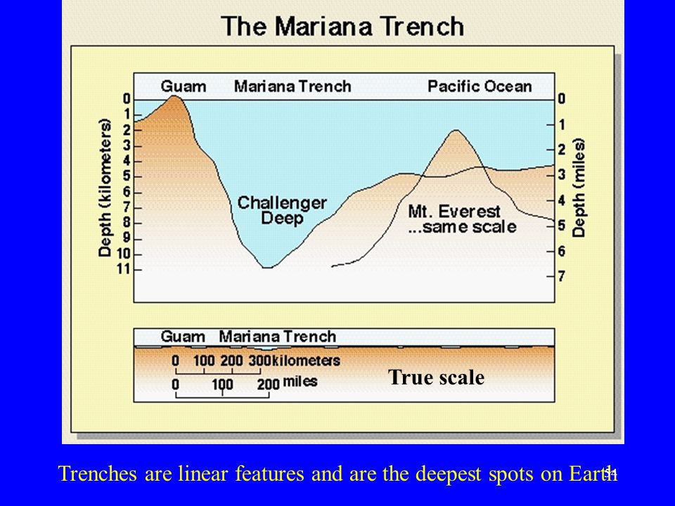 True scale Trenches are linear features and are the deepest spots on Earth 54