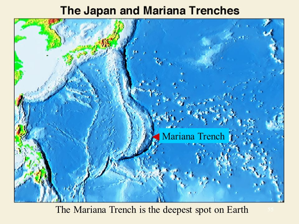 The Mariana Trench is the deepest spot on Earth Mariana Trench 55