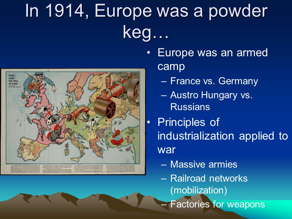 In 1914, Europe was a powder keg… Europe was an armed camp –France vs.