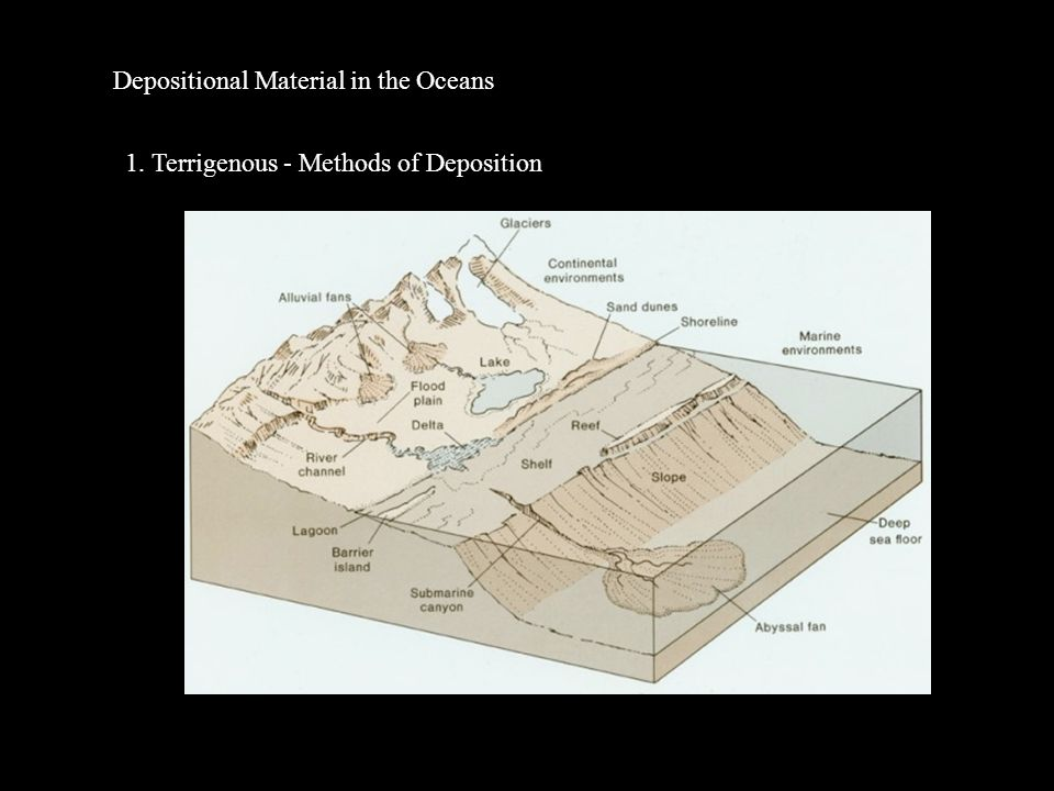 Depositional Material in the Oceans 1. Terrigenous - Methods of Deposition