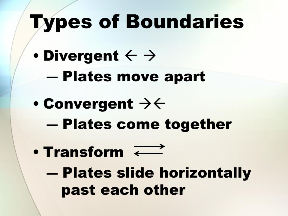 Types of Boundaries Divergent   ― Plates move apart Convergent  ― Plates come together Transform ― Plates slide horizontally past each other