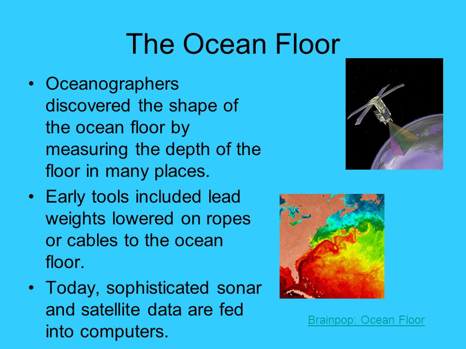 Ocean Floor Vocabulary A.Shoreline: line which marks the edge of the ocean water B.Continental Shelf: shallow, submerged part of the continent just off shore C.Continental Slope: land from continent's end to ocean floor D.Trench: narrow, very deep valley E.Seamount (Guyot): underwater volcanic mountain F.Abyssal Plain: flat, nearly level areas; forms most of the ocean floor G.Ridges: great underwater mountain ranges H.Rift: valleys between ridges