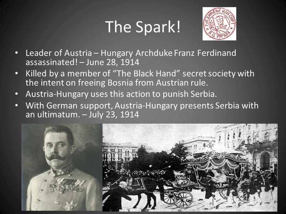 The Spark.Leader of Austria – Hungary Archduke Franz Ferdinand assassinated.
