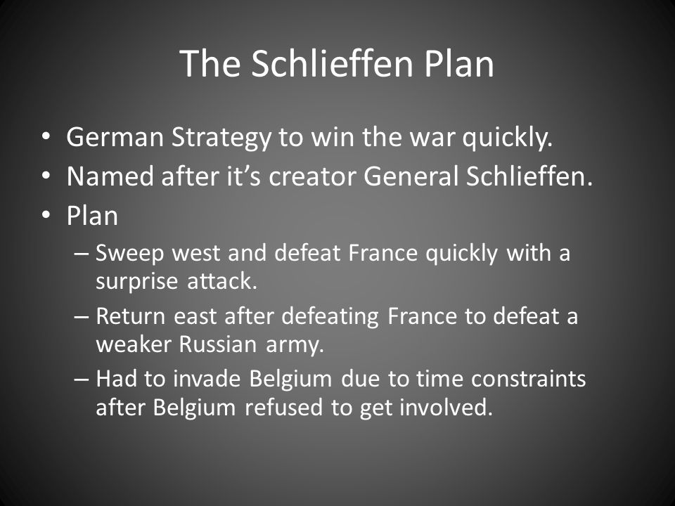 The Schlieffen Plan German Strategy to win the war quickly.