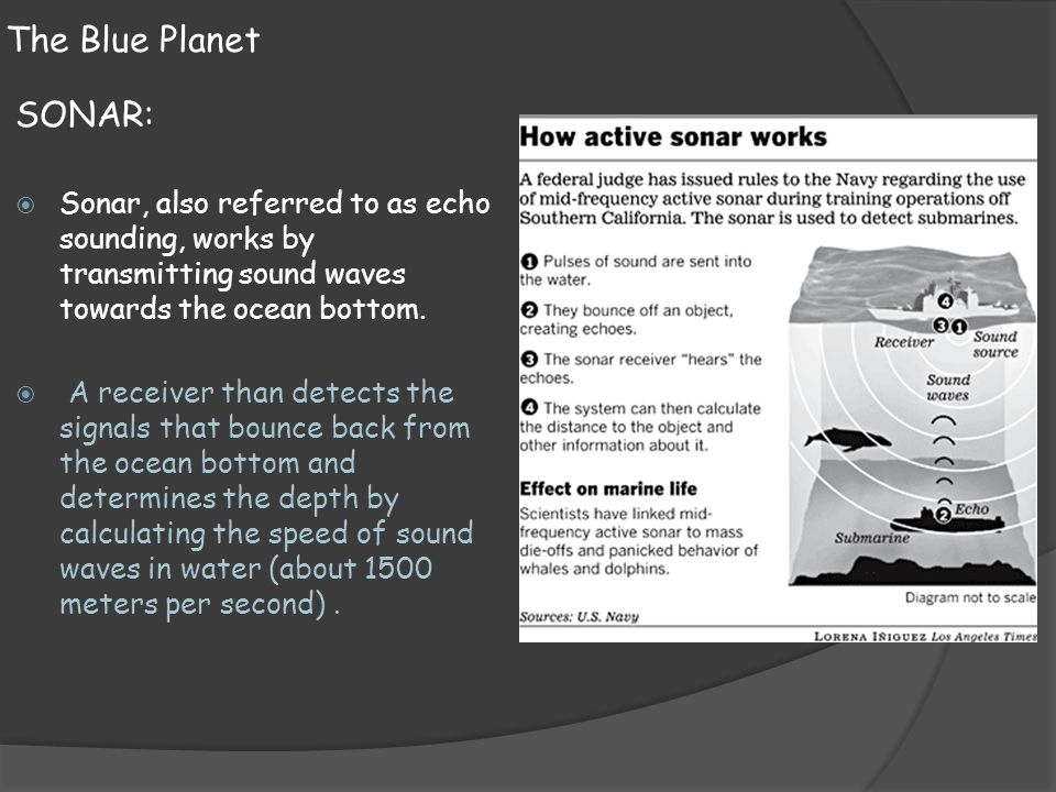 The Blue Planet SONAR:  Sonar, also referred to as echo sounding, works by transmitting sound waves towards the ocean bottom.  A receiver than detec