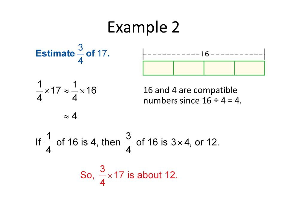 Example 2 16 and 4 are compatible numbers since 16 ÷ 4 = 4.