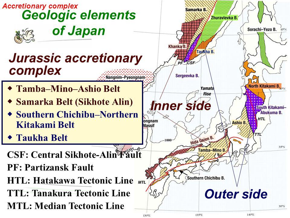 ◆ Tamba–Mino–Ashio Belt ◆ Samarka Belt (Sikhote Alin) ◆ Southern Chichibu–Northern Kitakami Belt ◆ Taukha Belt Inner side Outer side CSF: Central Sikh