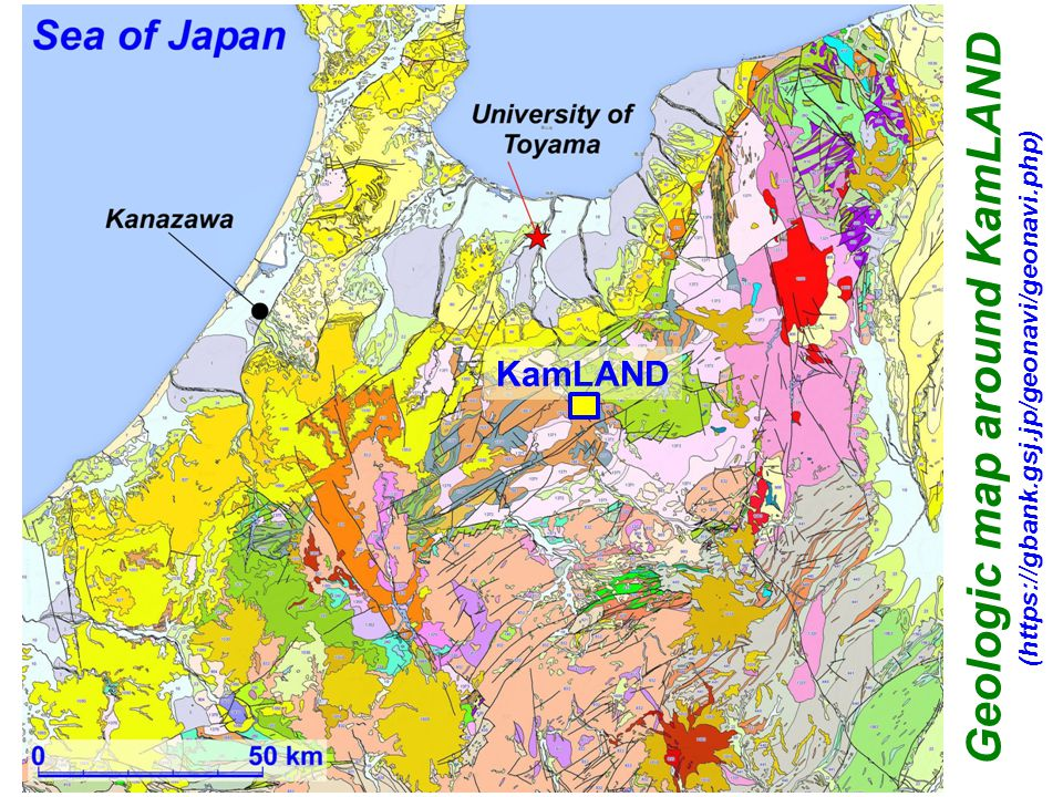 Geologic map around KamLAND (https://gbank.gsj.jp/geonavi/geonavi.php) KamLAND