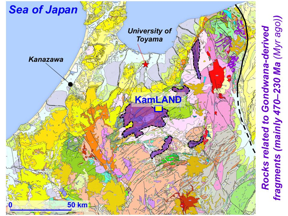 Rocks related to Gondwana-derived fragments (mainly 470–230 Ma (Myr ago)) KamLAND