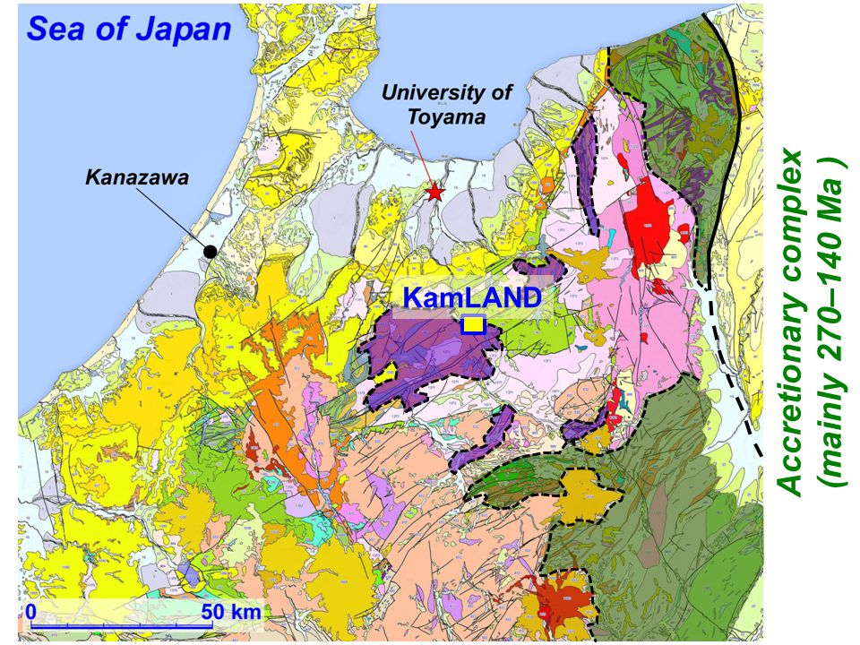 Seismic lines (yellow) and integrated cross section line (red) ★ KamLAND Japan Trench Nankai Trough Sea of Japan (East Sea) Sikhote Alin A B C D E