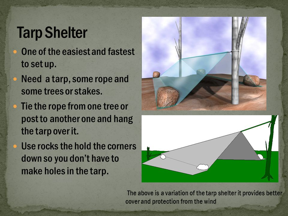 The tarp lean to is very similar to the tent because it is made with using the same materials.Wrap the tarp around so it is even and pull the string tight.