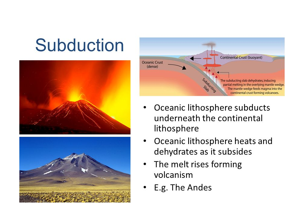 Oceanic lithosphere subducts underneath the continental lithosphere Oceanic lithosphere heats and dehydrates as it subsides The melt rises forming vol