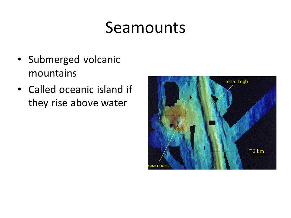 Seamounts Submerged volcanic mountains Called oceanic island if they rise above water