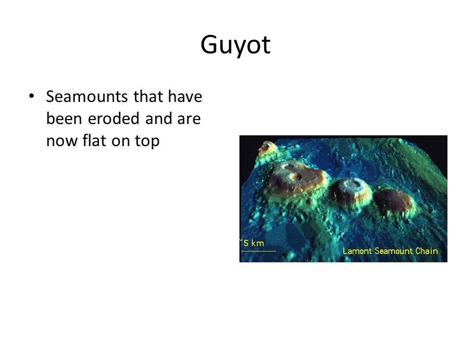 Guyot Seamounts that have been eroded and are now flat on top