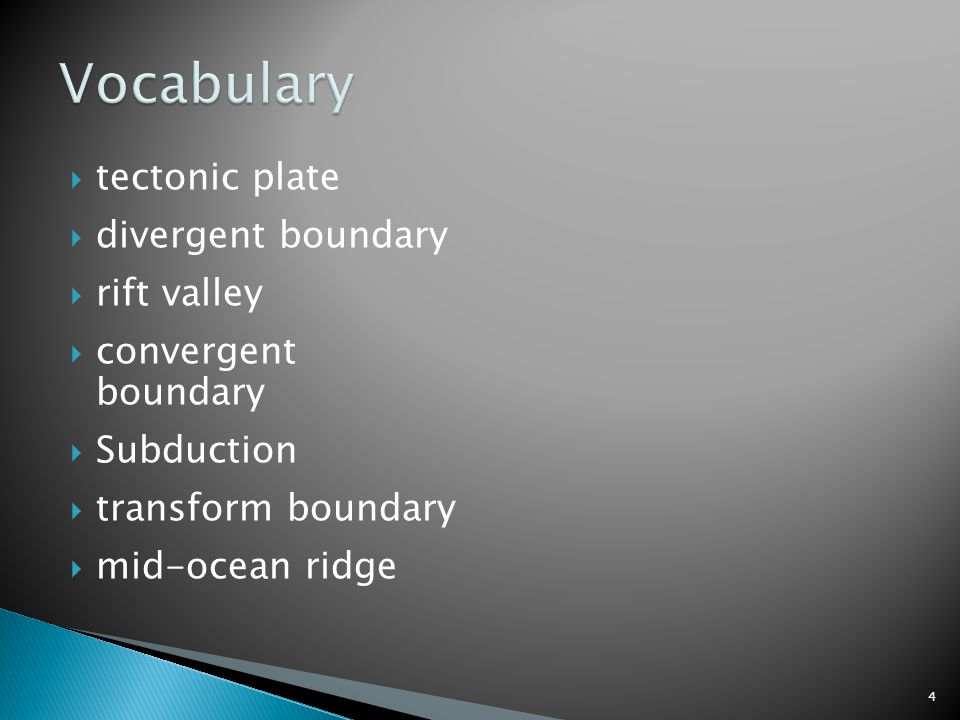  tectonic plate  divergent boundary  rift valley  convergent boundary  Subduction  transform boundary  mid-ocean ridge 4
