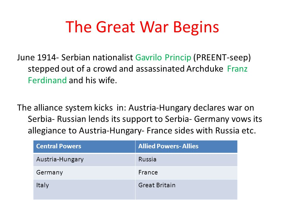 The Great War Begins June 1914- Serbian nationalist Gavrilo Princip (PREENT-seep) stepped out of a crowd and assassinated Archduke Franz Ferdinand and