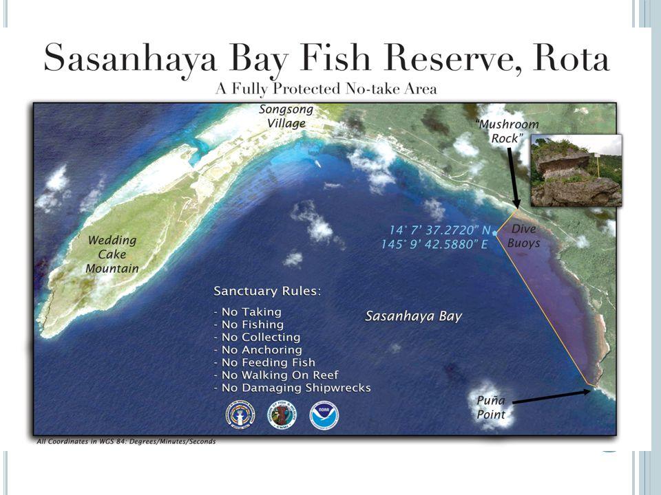 Sasanhaya Bay Fish Reserve Established through RLL 9-2 No-take Established in 1994 Dive sites (Coral gardens, Shoun Maru, Ponia point)