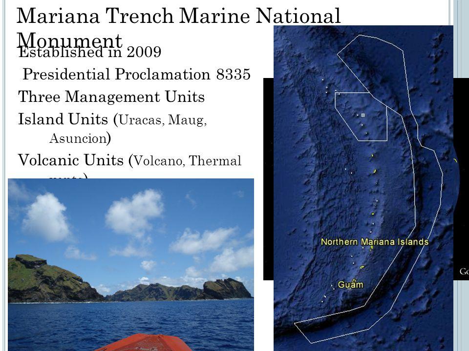 Established in 2009 Presidential Proclamation 8335 Three Management Units Island Units ( Uracas, Maug, Asuncion ) Volcanic Units ( Volcano, Thermal vents ) Trench Units ( Benthic habitats ) Mariana Trench Marine National Monument
