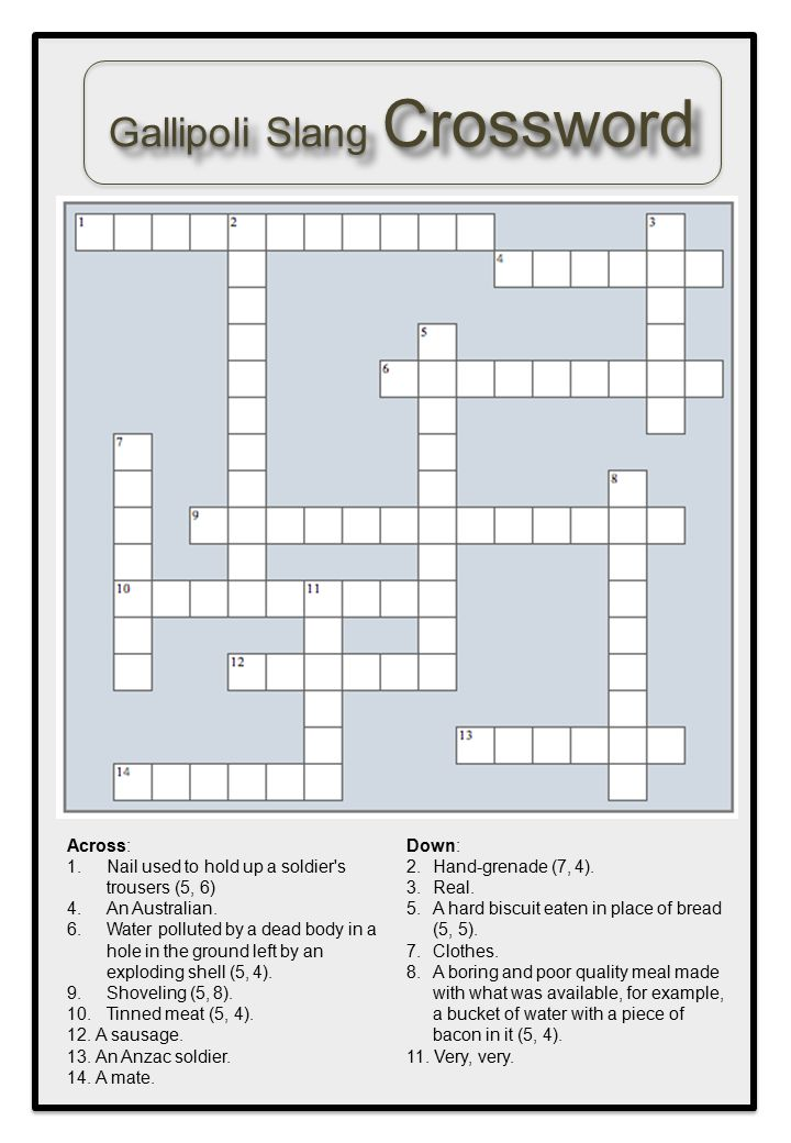 Gallipoli Slang Crossword Across: 1.Nail used to hold up a soldier's trousers (5, 6) 4.An Australian. 6.Water polluted by a dead body in a hole in the