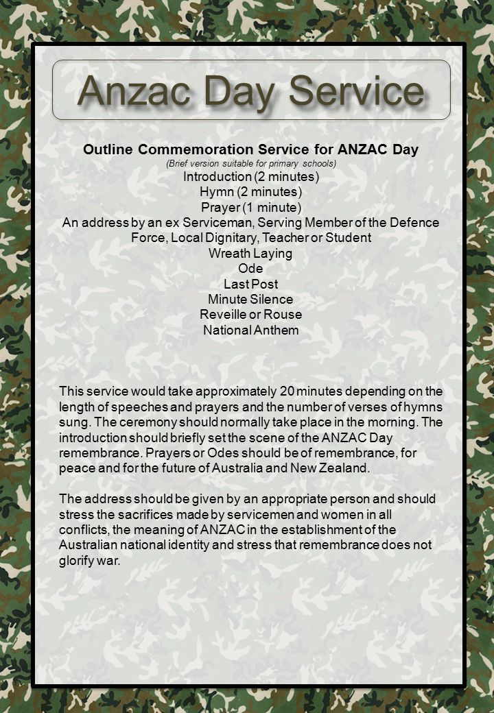 Outline Commemoration Service for ANZAC Day (Brief version suitable for primary schools) Introduction (2 minutes) Hymn (2 minutes) Prayer (1 minute) A
