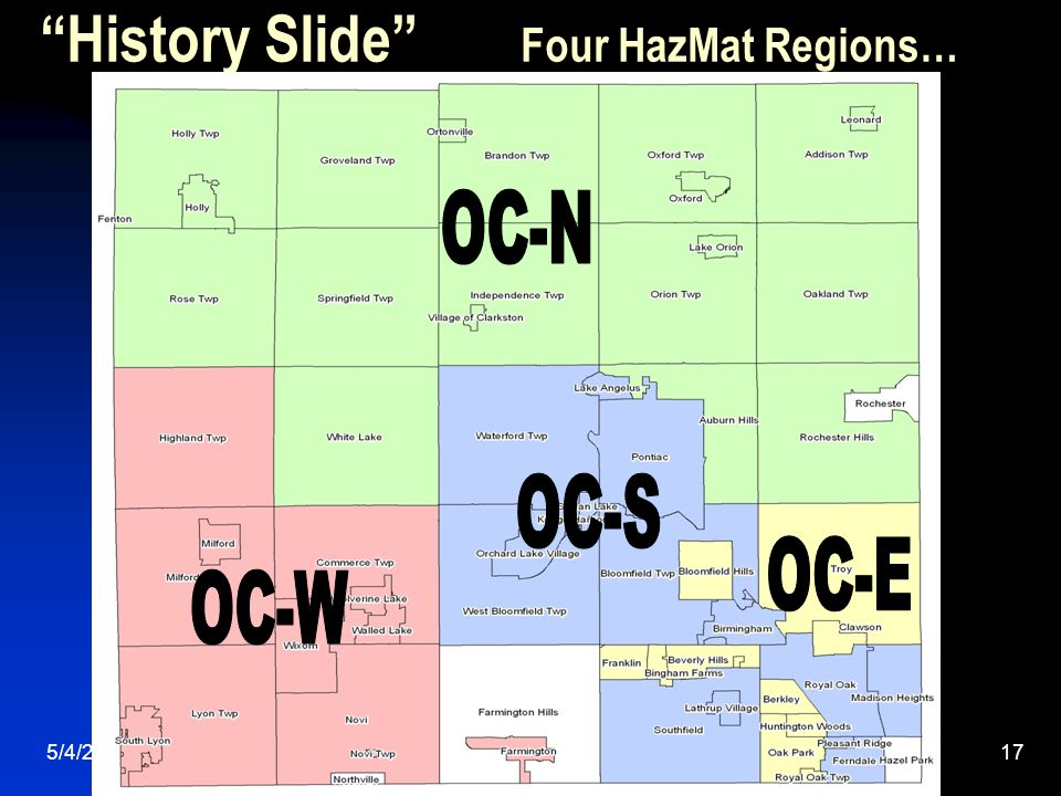 5/4/201517 History Slide Four HazMat Regions…