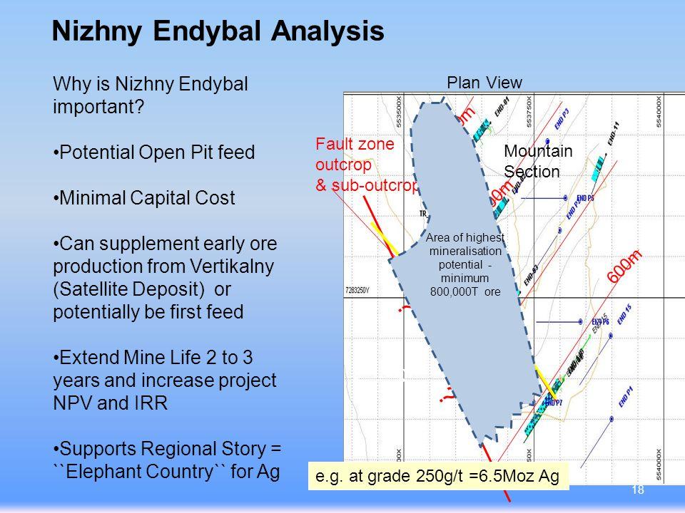 Nizhny Endybal Analysis Fault plane contours 100m 600m 700m 800m 900m River Section line .
