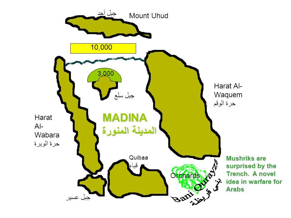 Mount Uhud جبل أحد Harat Al- Wabara حرة الوبرة MADINA المدينة المنورة Quibaa قباء Harat Al- Waquem حرة الوقم Orchards جبل سلع جبل عسير 3,000 10,000 Mu