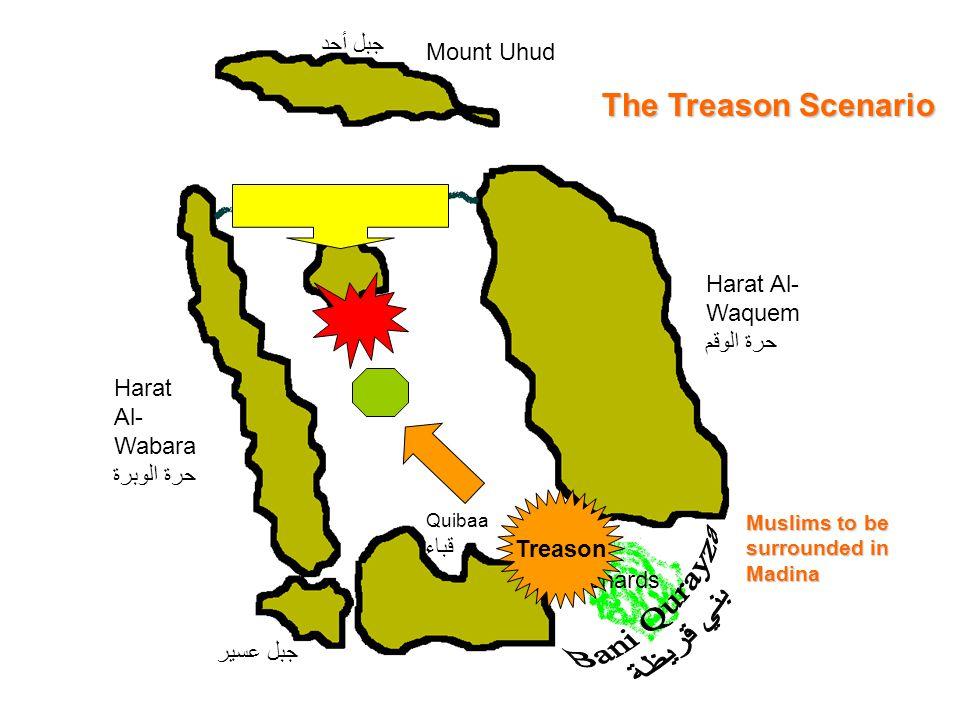 Mount Uhud جبل أحد Harat Al- Wabara حرة الوبرة Quibaa قباء Harat Al- Waquem حرة الوقم Orchards جبل عسير Treason The Treason Scenario Muslims to be sur