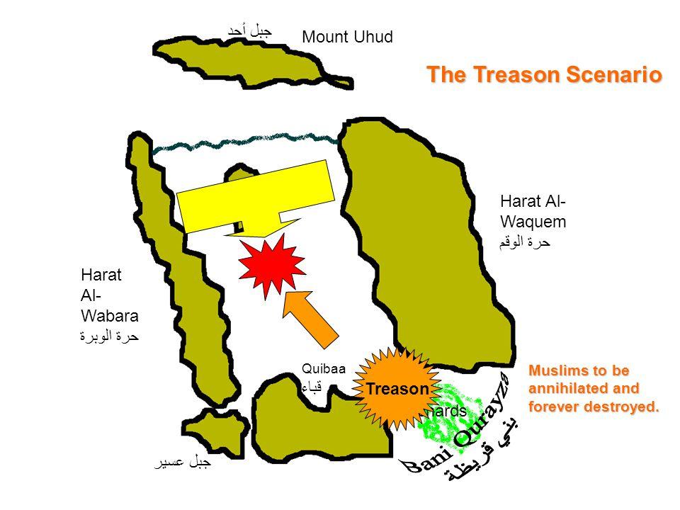 Mount Uhud جبل أحد Harat Al- Wabara حرة الوبرة Quibaa قباء Harat Al- Waquem حرة الوقم Orchards جبل عسير Treason The Treason Scenario Muslims to be ann