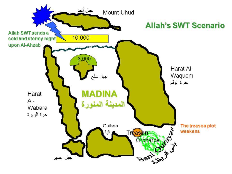 Mount Uhud جبل أحد Harat Al- Wabara حرة الوبرة MADINA المدينة المنورة Quibaa قباء Harat Al- Waquem حرة الوقم Orchards جبل سلع جبل عسير 3,000 10,000 Tr