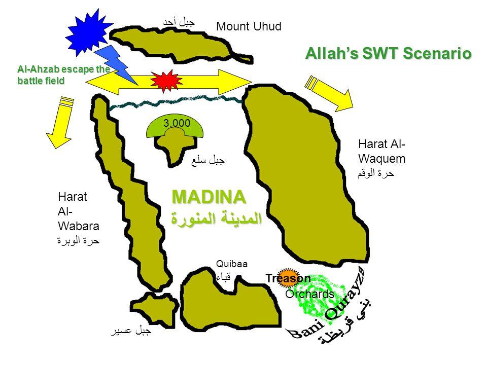 Mount Uhud جبل أحد Harat Al- Wabara حرة الوبرة MADINA المدينة المنورة Quibaa قباء Harat Al- Waquem حرة الوقم Orchards جبل سلع جبل عسير 3,000 Treason A
