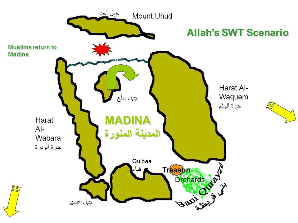 Mount Uhud جبل أحد Harat Al- Wabara حرة الوبرة MADINA المدينة المنورة Quibaa قباء Harat Al- Waquem حرة الوقم Orchards جبل سلع جبل عسير Treason Allah's