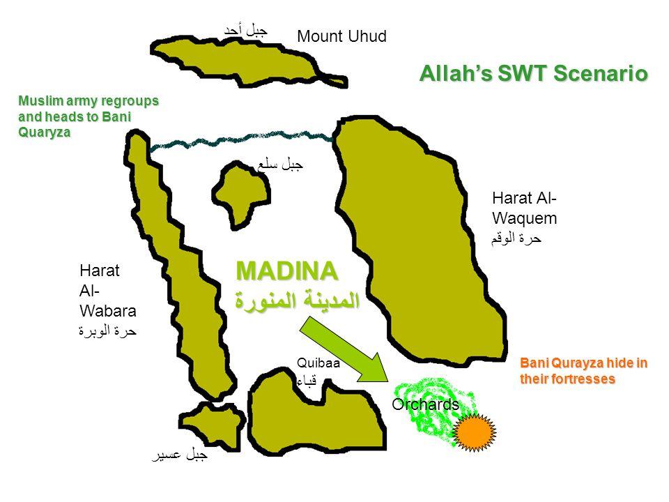 Mount Uhud جبل أحد Harat Al- Wabara حرة الوبرة Quibaa قباء Harat Al- Waquem حرة الوقم Orchards جبل سلع جبل عسير Allah's SWT Scenario Muslim army regro