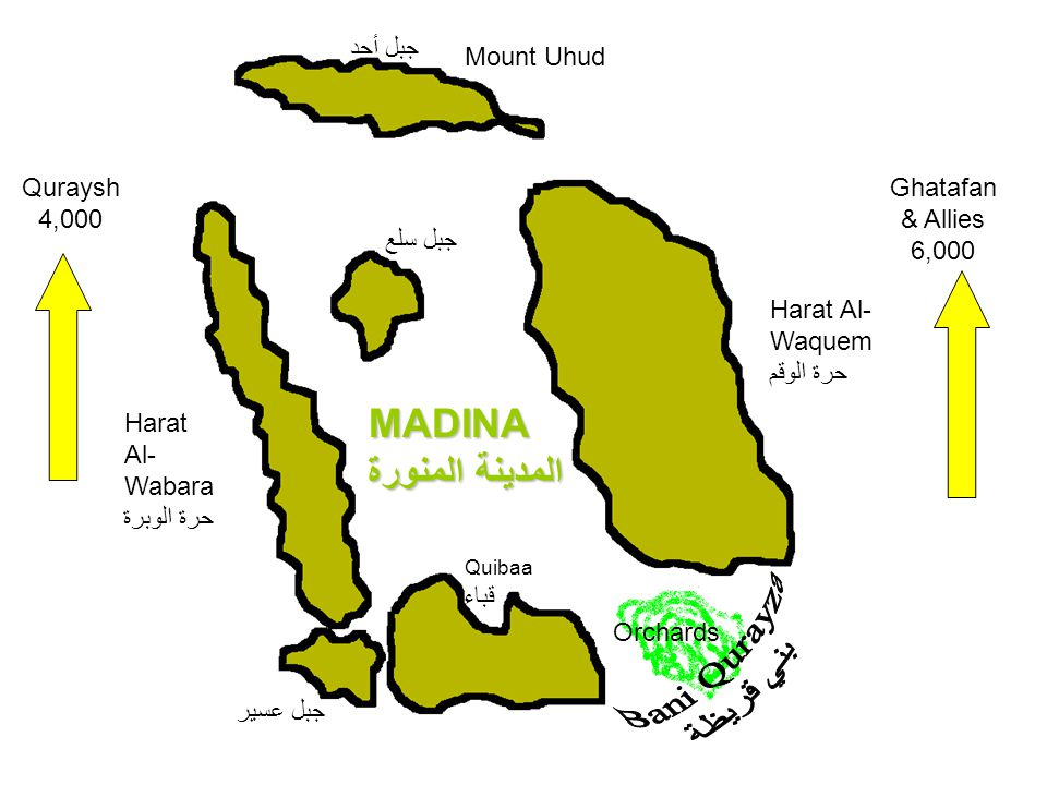 Mount Uhud جبل أحد Harat Al- Wabara حرة الوبرة MADINA المدينة المنورة Quibaa قباء Harat Al- Waquem حرة الوقم Orchards جبل سلع جبل عسير Quraysh 4,000 G