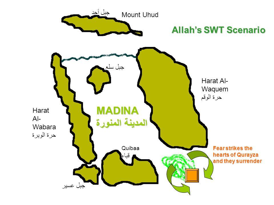 Mount Uhud جبل أحد Harat Al- Wabara حرة الوبرة Quibaa قباء Harat Al- Waquem حرة الوقم جبل سلع جبل عسير Allah's SWT Scenario MADINA المدينة المنورة Fea
