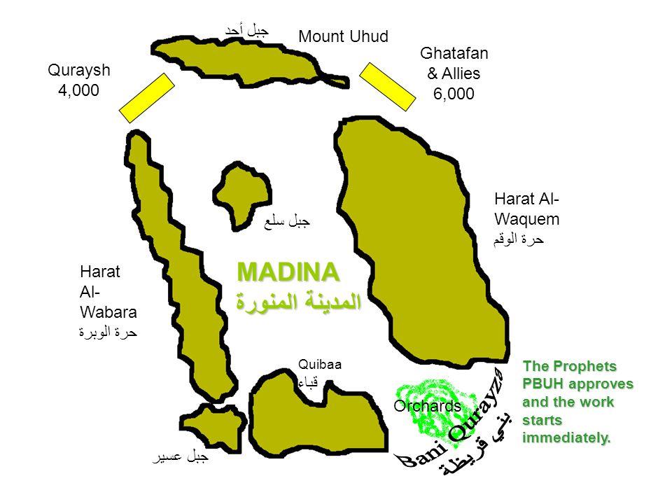 Mount Uhud جبل أحد Harat Al- Wabara حرة الوبرة MADINA المدينة المنورة Quibaa قباء Harat Al- Waquem حرة الوقم Orchards جبل عسير Ghatafan & Allies 6,000