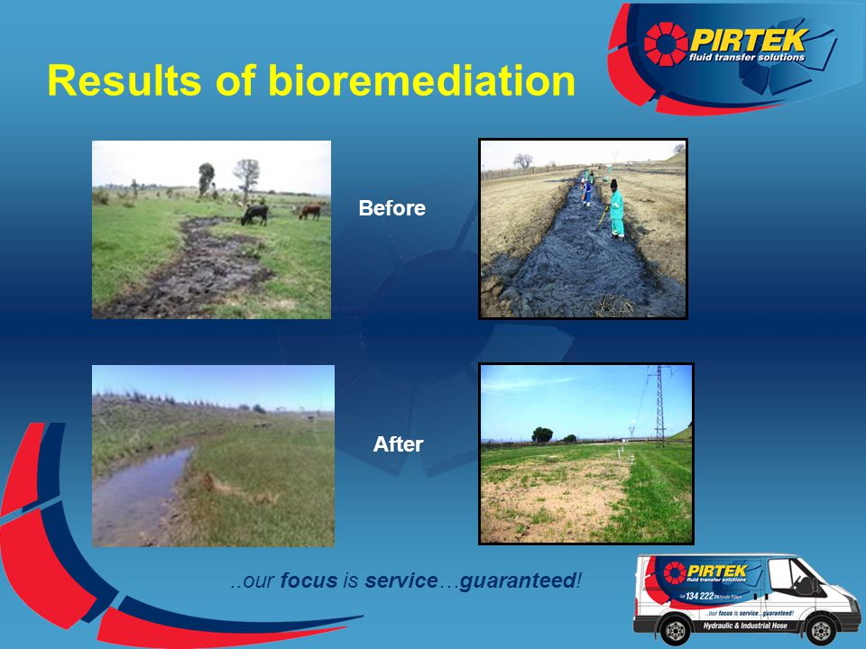 ..our focus is service…guaranteed! Results of bioremediation Before After