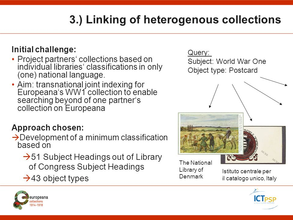 3.) Linking of heterogenous collections Initial challenge: Project partners' collections based on individual libraries' classifications in only (one) national language.