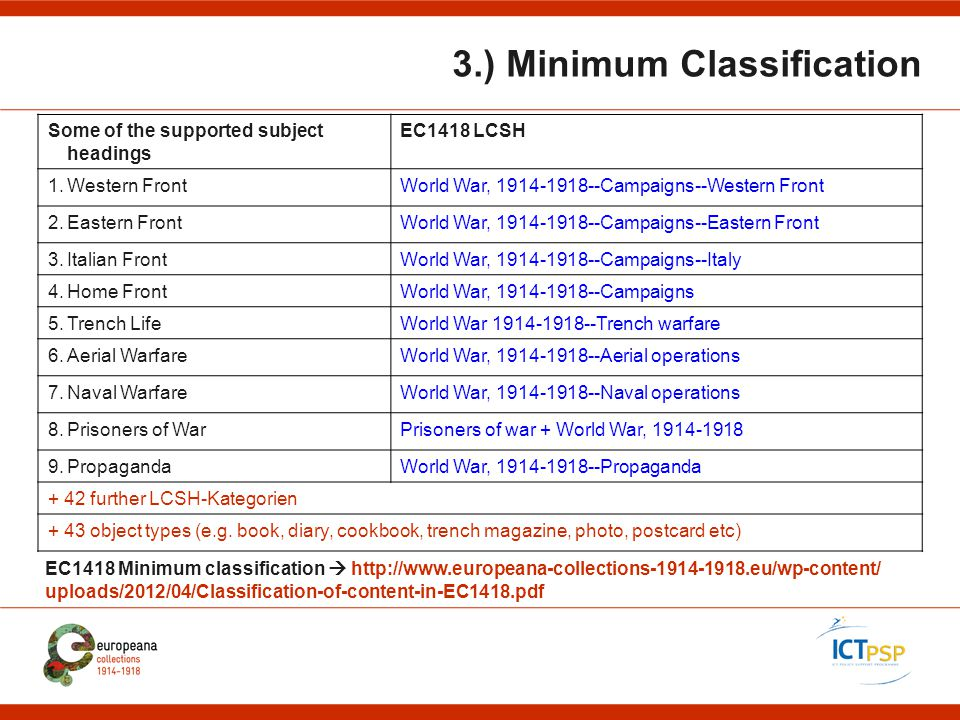 3.) Minimum Classification Some of the supported subject headings EC1418 LCSH 1.Western FrontWorld War, 1914-1918--Campaigns--Western Front 2.Eastern