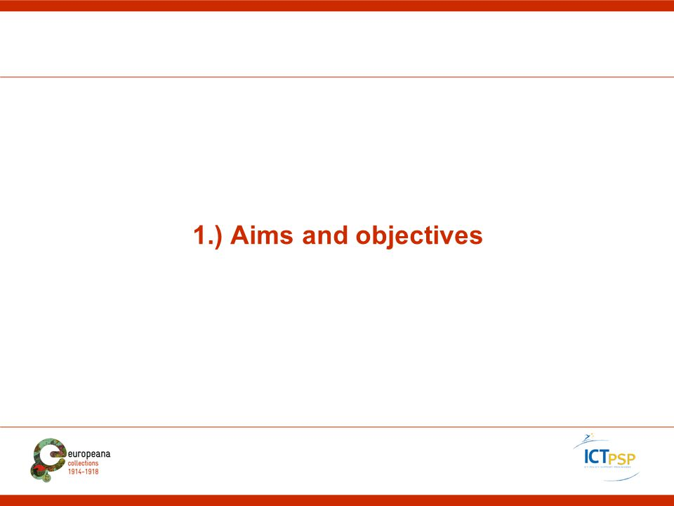 1.) Aims and objectives