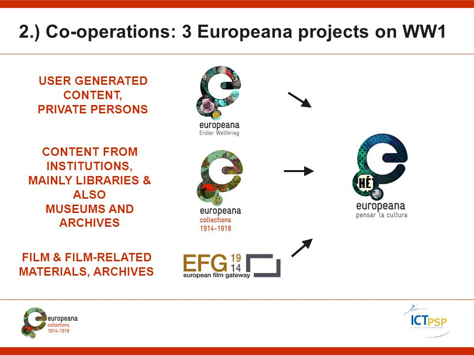 2.) Co-operations: 3 Europeana projects on WW1 USER GENERATED CONTENT, PRIVATE PERSONS FILM & FILM-RELATED MATERIALS, ARCHIVES CONTENT FROM INSTITUTIONS, MAINLY LIBRARIES & ALSO MUSEUMS AND ARCHIVES