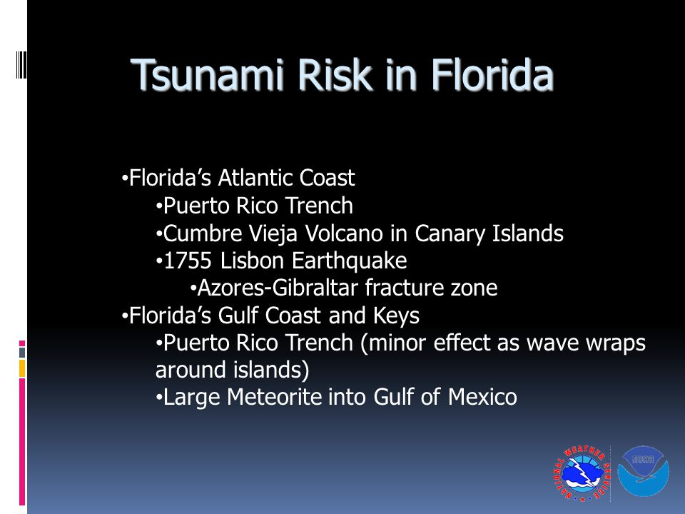 Tsunami Risk in Florida Florida's Atlantic Coast Puerto Rico Trench Cumbre Vieja Volcano in Canary Islands 1755 Lisbon Earthquake Azores-Gibraltar fracture zone Florida's Gulf Coast and Keys Puerto Rico Trench (minor effect as wave wraps around islands) Large Meteorite into Gulf of Mexico
