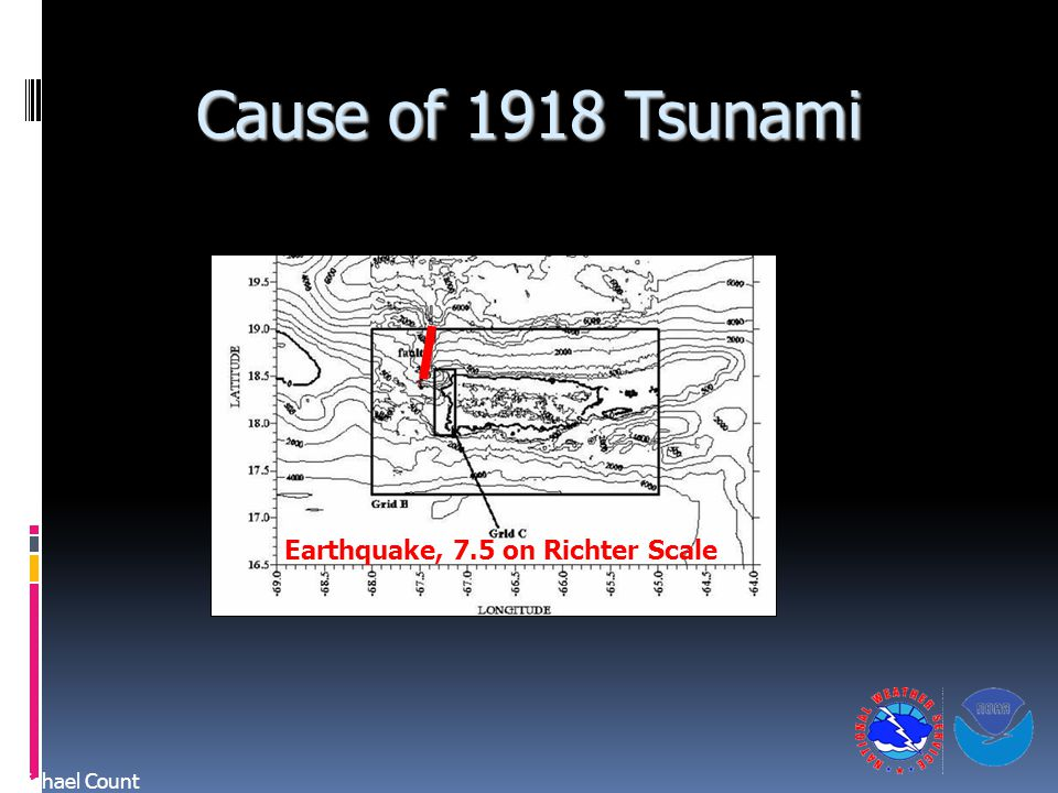 Cause of 1918 Tsunami Michael Count Earthquake, 7.5 on Richter Scale