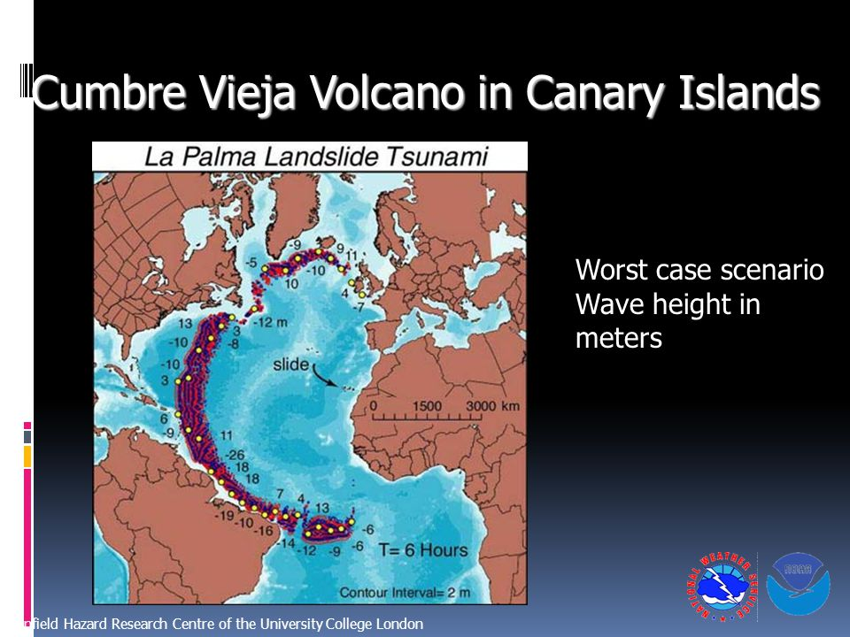 Cumbre Vieja Volcano in Canary Islands Benfield Hazard Research Centre of the University College London Worst case scenario Wave height in meters