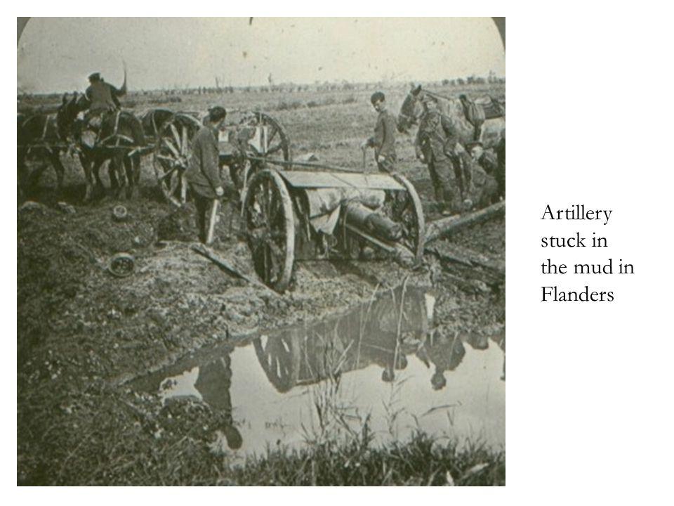 Artillery stuck in the mud in Flanders