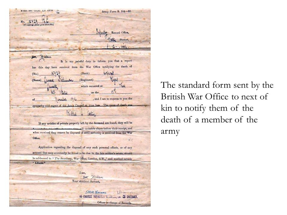 The standard form sent by the British War Office to next of kin to notify them of the death of a member of the army