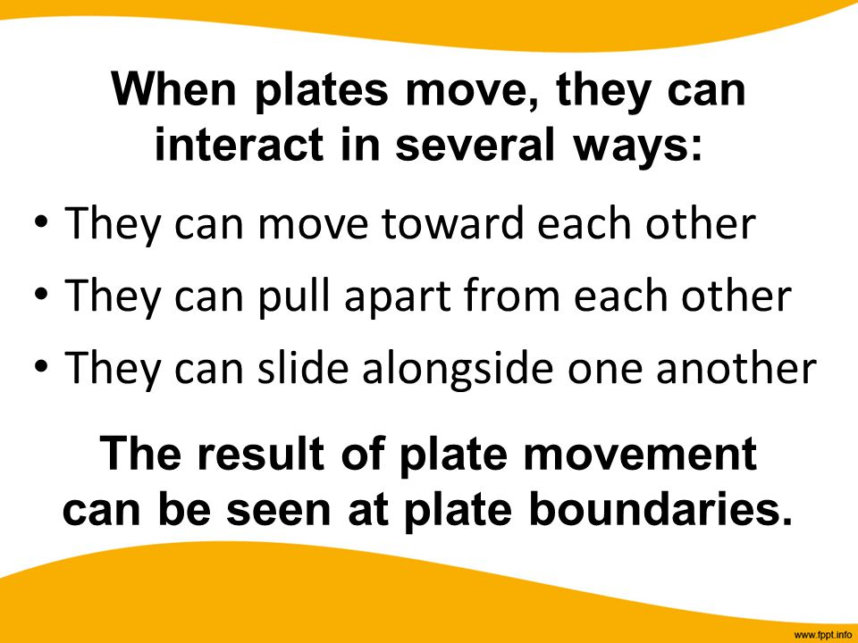 When plates move, they can interact in several ways: They can move toward each other They can pull apart from each other They can slide alongside one