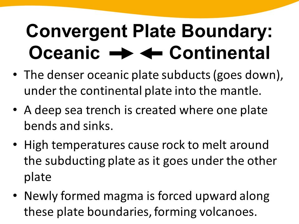 The denser oceanic plate subducts (goes down), under the continental plate into the mantle. A deep sea trench is created where one plate bends and sin